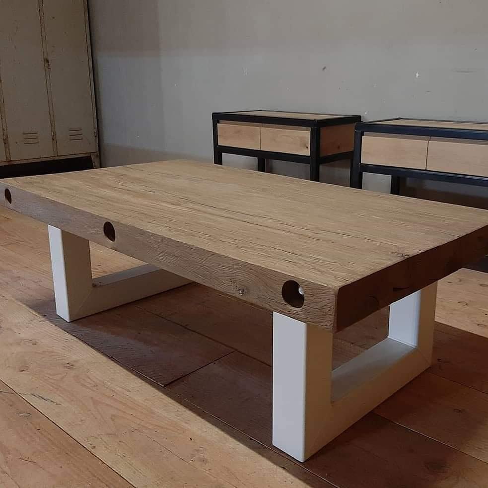 Industriële salontafel, met witte poedercoating